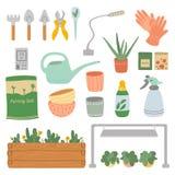 Ajuste da ferramenta do cuidado da planta ilustração stock