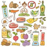 Ajuste da garatuja do kawaii da dieta ilustração stock