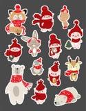 Ajuste da ilustração bonito do personagem de banda desenhada para o Natal e a celebração do ano novo Animais da floresta do inver ilustração stock