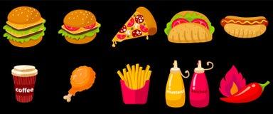 Ajuste da ilustração do ícone do vetor do fast food fotografia de stock royalty free