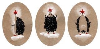 Ajuste da ilustração do Natal três, ouriço vestido acima como uma árvore de Natal Ilustração tirada mão em um papel do ofício fotografia de stock