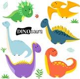 Ajuste da ilustração isolada do vetor dos dinossauros, eps ilustração do vetor