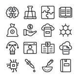 Ajuste da linha ícones da ciência e da educação ilustração stock