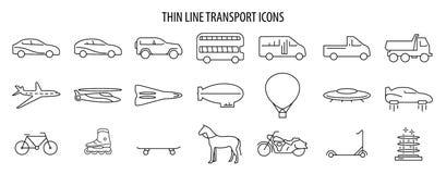 Ajuste da linha ícones do thine do vetor do transporte Ilustração do EPS 10 ilustração stock