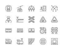 Ajuste da linha ícones do trem e de estradas de ferro Teleférico, mapa do metro, locomotiva e mais ilustração do vetor