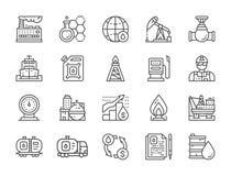 Ajuste da linha ícones da indústria petroleira Caminhão de combustível, coordenador, fábrica e mais ilustração stock