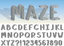 Ajuste da linha fonte e alfabeto do vetor do labirinto ilustração stock