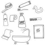 Ajuste da linha símbolos das ferramentas do banheiro do ícone da arte ilustração royalty free