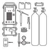 Ajuste da máquina do argônio da soldadura de gás da ilustração com a tocha do tanque do regulador ilustração stock