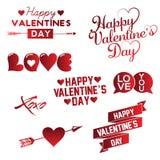 Ajuste da mão feliz do dia do Valentim s que rotula o fundo tipográfico com ornamento, corações, fita e seta imagens de stock