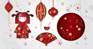 Ajuste da menina japonesa, da boneca de Kokeshi, do fã, do guarda-chuva, das lanternas japonesas, do copo com arroz e das varas ilustração royalty free