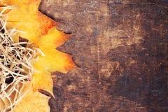 Ajuste da tabela da ação de graças - cutelaria sazonal em de madeira rústico Fotos de Stock Royalty Free