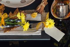 Ajuste da tabela com a decoração do outono para a ação de graças Fotos de Stock Royalty Free