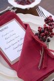 Ajuste da tabela da ação de graças com menu Foto de Stock Royalty Free