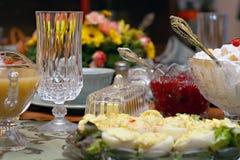 Ajuste da tabela da refeição do feriado Fotografia de Stock