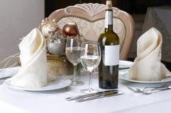 Ajuste da tabela de banquete imagem de stock