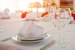 Ajuste da tabela de banquete Fotografia de Stock