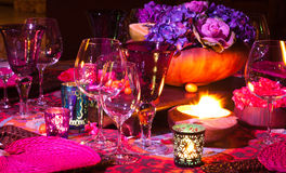 Ajuste da tabela de jantar Fotografia de Stock