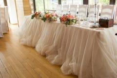 Ajuste da tabela de jantar do casamento Imagens de Stock