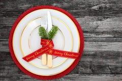 Ajuste da tabela de jantar do Natal Fotos de Stock Royalty Free