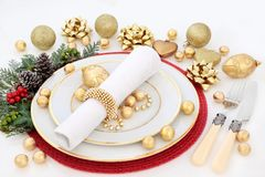 Ajuste da tabela de jantar do Natal Imagens de Stock