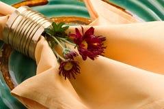 Ajuste da tabela de jantar do tema da queda Fotografia de Stock Royalty Free