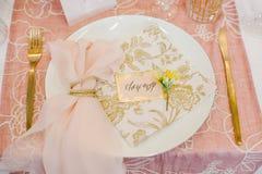 Ajuste da tabela do casamento Imagem de Stock Royalty Free