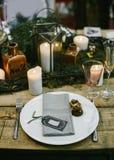 Ajuste da tabela do casamento Imagens de Stock