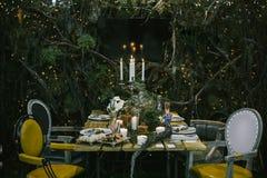 Ajuste da tabela do casamento Foto de Stock Royalty Free
