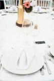 Ajuste da tabela do casamento Imagens de Stock Royalty Free