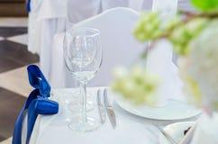 Ajuste da tabela do casamento Imagem de Stock