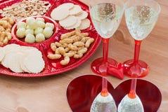 Ajuste da tabela do dia de Valentim Imagem de Stock