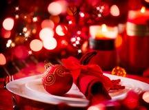 Ajuste da tabela do feriado do Natal Imagens de Stock Royalty Free