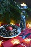 Ajuste da tabela do Natal com decorações festivas Ajuste de lugar para o jantar de Natal Imagem de Stock Royalty Free