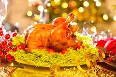 Ajuste da tabela do Natal com peru Imagens de Stock