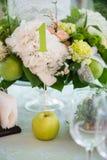 Ajuste da tabela do verão no verde com maçã Imagem de Stock Royalty Free