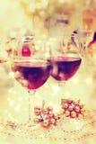 Ajuste da tabela do vinho do feriado Foto de Stock Royalty Free