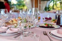 Ajuste da tabela para a celebração Foto de Stock Royalty Free