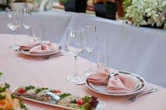 Ajuste da tabela para a celebração Fotografia de Stock Royalty Free