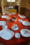 Ajuste da tabela para uma refeição matinal da festa do bebê Imagem de Stock Royalty Free