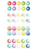 Ajuste da tinta e da escova coloridas das formas do círculo ilustração do vetor