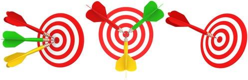 Ajuste dardos isolados no fundo branco rendição 3d Imagem de Stock
