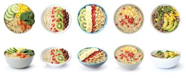 Ajuste das bacias com os pratos saudáveis do quinoa no branco imagem de stock