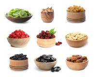Ajuste das bacias diferentes com frutos secados deliciosos imagens de stock
