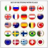 Ajuste das bandeiras com bandeiras populares ilustração stock