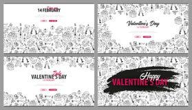 Ajuste das bandeiras do dia de Valentim com fundo da garatuja 14 de fevereiro Ilustração do vetor ilustração do vetor
