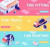 Ajuste das bandeiras para a manutenção e a evacuação do carro ilustração stock