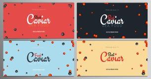 Ajuste das bandeiras vermelhas e pretas do caviar Fundos deliciosos do marisco Ilustração do vetor do caviar Natural e saudável ilustração royalty free