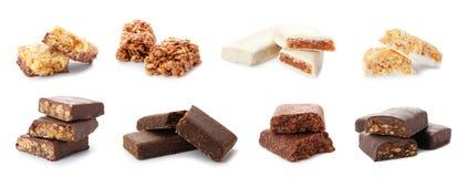 Ajuste das barras doces diferentes da proteína no branco imagem de stock royalty free