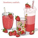 Ajuste das bebidas de refrescamento do verão das morangos Milk shake, morango Mojito, bebida fresca e morango fresca ilustração do vetor